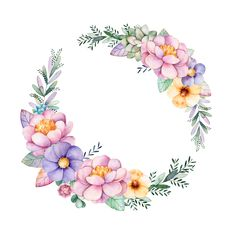 Find Colorful Floral Pastel Template Card Peonyflowersleavessucculent stock images in HD and millions of other royalty-free stock photos, illustrations and vectors in the Shutterstock collection. Flower Frame, Flower Crown, Flower Art, Molduras Vintage, Illustration Blume, Unicorn Art, Arte Floral, Floral Border, Floral Illustrations
