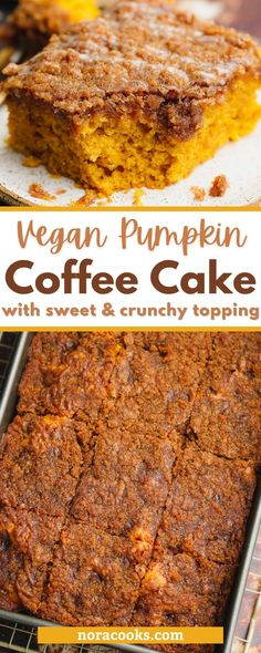 This Vegan Pumpkin Coffee Cake is the ultimate fall dessert! It's perfectly spiced, full of pumpkin flavor and the crunchy sweet topping is to die for. This super moist and perfectly spiced Pumpkin Coffee Cake is easy to make, and the perfect treat to enjoy with a cup of hot coffee. See how to make this recipe over on the blog. Vegan Coffee Cakes, Pumpkin Coffee Cakes, Pumpkin Spice Coffee, Spiced Coffee, Hot Coffee, Vegan Brunch Recipes, Delicious Vegan Recipes, Dessert Recipes, Fall Desserts