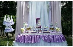 Purple dessert table at a Sofia the First birthday party! See more party ideas at CatchMyParty.com!