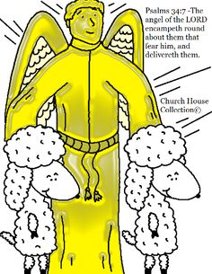 The Angel of The Lord With Sheep Coloring Page by Church House Collection©