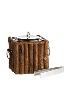 Napa Home and Garden Log Cabin Ice Bucket with Lid, Brown at MYHABIT