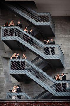 Chic city industrial wedding photo