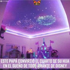 Este papá cumplió el cuarto de su hija en el sueño de todo amante de Disney  <br> Neon Bedroom, Bedroom Themes, Room Decor Bedroom, Bedroom Ideas, Disney Themed Bedrooms, Disney Princess Bedroom, Princess Bedrooms, Princess Room, Easy Diy Room Decor
