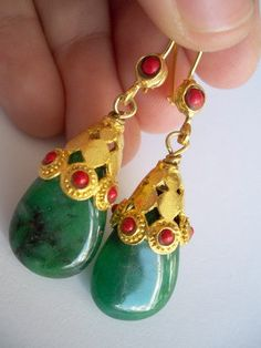 Majestic Green  Jade earring by beadycats on Etsy