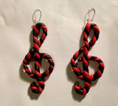 Item Details   Shipping & Policies Treble Clef earrings - spiral red black.   These where made for my love for music! For my life! as Music = Life!  And spiral vibe plus red and black color = my fav colors! ( you can order in other colours by the way! - in Your Favorite Colors!!! ) plus this was also something my good friend wanted to have as well!    Great musicians gift/present, musical accessories. Handmade - polymer clay used. jewellery/jewelry/fashion  Great decor to you new red / black…