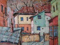David Croitor, 1958 ~ Old street of Bucharest Street Painting, City Painting, Painting & Drawing, Unique Paintings, Paintings I Love, Flower Paintings, Old Street, Street Art, Illustrations