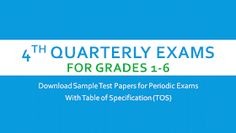 Periodic Test/Quarterly Exam Questions with TOS for Grades 1 to 6 Summative Test, Kindergarten Lesson Plans, Certificate Templates, Grade 3, Vocabulary, Period, Awards, Classroom, Decorations