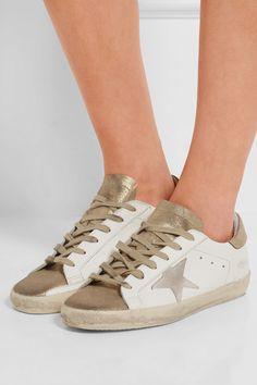 fe345bf2fff5 Golden Goose - Baskets en cuir à paillettes et effet vieilli Super Star ·  Leder Und SpitzeLeder SneakersSchuhe TurnschuheGoldene ...