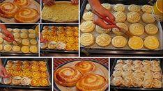 """""""Rulourile cu brânză"""" sunt niște delicii pufoase și moi, cu o aromă amețitoare. Rulourile sunt îmbibate cu smântână, sunt foarte delicioase, gingașe, fragede și, pur și simplu, irezistibile! Bucurați-i pe cei dragi cu un desert extraordinar de bun, foarte aromat și cu gust inegalabil! Ingrediente pentru aluat – 350 g de făină – 3 g … Sausage, Muffin, Menu, Cooking Recipes, Sweets, Cookies, Breakfast, Ethnic Recipes, Food"""