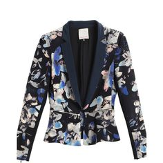 Rebecca Taylor Hawaii Zip Jacket (650 BRL) ❤ liked on Polyvore featuring outerwear, jackets, black, blazer, zipper blazer, flower print blazer, blazer jacket, cropped blazer and floral blazer