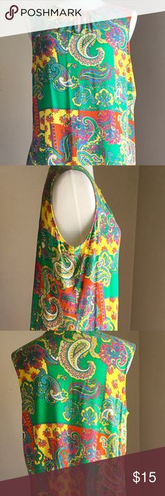 HOST PICKCHAPS Paisley Top Listing some beautiful summer tops for my mom.  All of these are NWOT or worn once. Bright colored paisley with cute keyhole cutout.  Measures approximately 23 from armpit to armpit and 27 from shoulder to hem.  Excellent condition. Chaps Tops Blouses