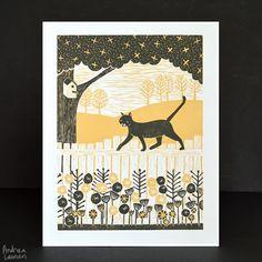 Cat's Life : Original Linocut Reduction by Andrea Lauren.