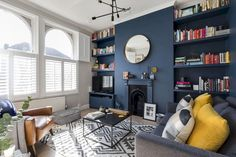 Dramatic and contemporary dark blue interior design - the transformation of my Victorian living room. Stiffkey Blue walls by Farrow & Ball, contrasted with Ammonite grey walls. Dark walls in a living room don't need to mean a dark space, here the mix of t Living Room Grey, Living Room Modern, Living Room Bedroom, Home And Living, Living Room Designs, Living Room Decor, Living Room Ideas Cream And Brown, Blue And Mustard Living Room, Living Rooms