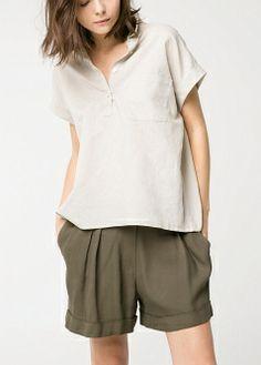 MANGO - NEW - Linen-blend boxy blouse