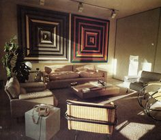 Check out the Mies Cantilever Cane Armchairs in this vintage image from NEW LIVING SPACES | Time Life Books ©1976