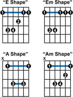 the most common bar chords on guitar Easy Guitar Songs, Guitar Chords For Songs, Music Chords, Guitar Tips, Music Guitar, Basic Guitar Lessons, Music Lessons, Guitar Tutorial, Guitar Collection