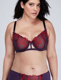 f40a3f29bd Fashion Bug Women s Rose Embroidered Unlined Full Coverage Bra 40C Gothic  Grape Plus Size Stores