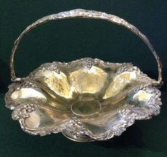 Antique Silver Plate Grape / Fruit / Bread Basket Bowl With Swing Handle Fruit Bread, Antique Silver, Silver Plate, Baskets, Handle, Antiques, Ebay, Jewelry, Antiquities