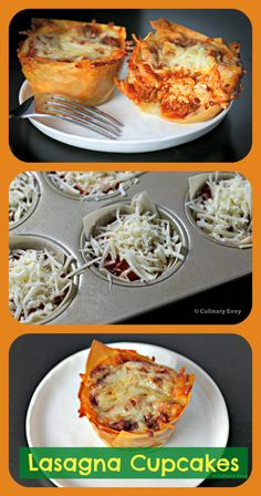 Lasagna without all the fuss. Individually baked in muffin cups, these cheesy, comforting Lasagna Cups could not be easier or quicker to make. Eggs In Muffin Tin, Muffin Tins, Muffin Pans