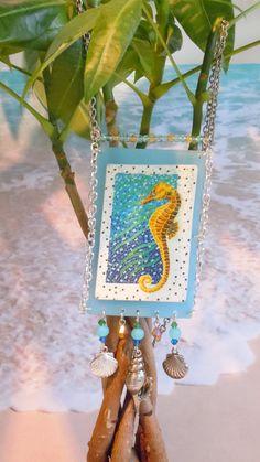 mosaic seahorse tropical sea ocean florida key west by 57cooncat, $28.00