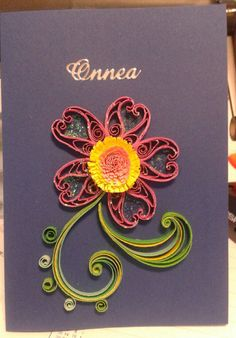 Flower congratulation card by quilling