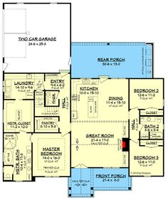 Country Craftsman House Plan with Split Bedroom Layout - floor plan - Main Level grundriss, Country Craftsman House Plan with Split Bedroom Layout Ranch House Plans, Craftsman House Plans, Bedroom House Plans, New House Plans, Dream House Plans, Small House Plans, House Floor Plans, Garage Bedroom, Basement House Plans