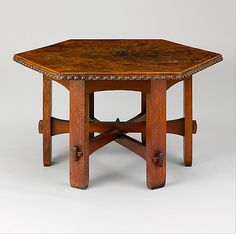 Library Table. Made by Gustav Stickley. Date: ca. 1906. Culture: American Medium: Oak, leather Dimensions: H. 30 in. W 55 in.