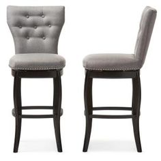 Baxton Studio Leonice Modern And Contemporary Fabric Upholstered Button Tufted 29 Swivel Bar Stool Upholstered Bar Stools, Swivel Counter Stools, Counter Height Stools, Bar Counter, Contemporary Fabric, Modern Fabric, Grey Fabric, Brown Bar Stools, Stools With Backs