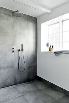 Ground floor bath - Light Grey floor and Walls in shower. Other walls White/ really light plaster Bathroom Toilets, Laundry In Bathroom, Ikea Bathroom, Modern Bathroom, Master Bathroom, Bathroom Inspo, Bathroom Inspiration, Diy Crafts For Home Decor, Scandinavian Bathroom