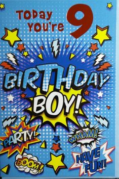 GBP - Birthday Cards For 9 Years Old ,Boy Good Quality,Different Designs & Garden Happy Birthday Grandson, Happy 10th Birthday, Happy Birthday Wishes Quotes, Birthday Wishes Cards, Happy Birthday Greetings, Birthday Messages, Boy Birthday, Bday Cards, Birthday Stuff