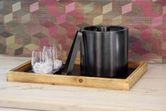 Asheville Rustic Wood and Matte Black Bar Accessories matched with Drinkwise Stemless Wine Glasses
