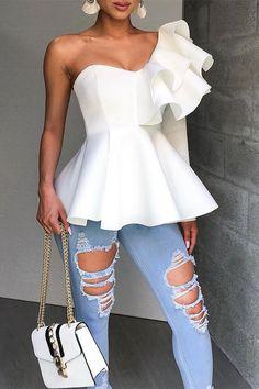 Yellow Fashion, Grey Fashion, Style Fashion, Womens Fashion, One Shoulder Ruffle Top, One Shoulder Tops, Shoulder Shirts, Shoulder Sleeve, Hot Dress