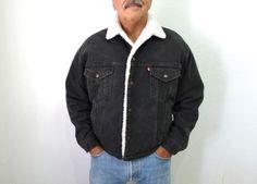 Levis denim jacket 70s jeans jacket Sherpa by KMalinkaVintage