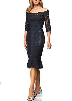 Short Lace Mother of the Bride Dresses for Wedding Prom Off Shoulder with 3/6 Sleeve Hhdress http://www.amazon.com/dp/B010NEI824/ref=cm_sw_r_pi_dp_FERYvb05FHX14