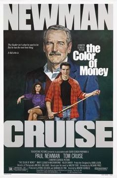 """Director Martin Scorsese's """"The Color of Money"""" (1986), a sequel to director Robert Rosen's """"The Hustler"""" from1962. Paul Newman at last won his Best Actor Oscar again playing Fast Eddie Felson; joined by Tom Cruise."""