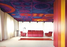 German designed house from 1970 'Kunstoffhaus FG 2000' - psychedelic carpeted ceiling, PINK FURNITURE! :)