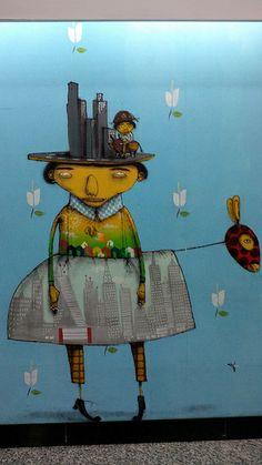 Os Gemeos - detail (Av. Paulista, Sao Paulo, Brazil, May 2014) #Street Art #streetart #graffiti #street art