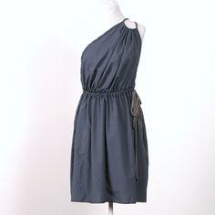 Low Back Halter Dress  slate blue  RESERVED by MiloCreativeStudios