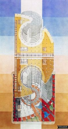 Combination reflected plan and section diagram of the Thompson Center by Helmut Jahn showing an emphasis on the atrium space cutting through the whole building. Water Architecture, Watercolor Architecture, Architecture Drawings, Amazing Architecture, Architecture Graphics, Axonometric Drawing, Thompson Center, Love Drawings, Simple Drawings
