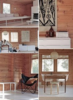 wood + black + white // time of the aquarius [finnish] Cottage Living, Home And Living, Log Home Interiors, Cottage Renovation, Scandinavian Interior, House In The Woods, Log Homes, Home Fashion, Small Spaces