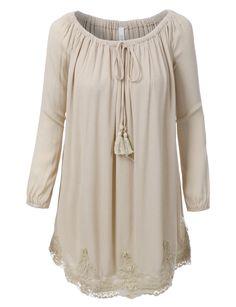 LE3NO Womens Long Sleeve Off Shoulder Peasant Tunic Dress