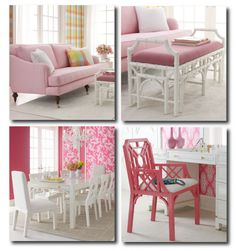 Lilly Pulitzer Furniture Available Through Horchow Mod Furniture, Palm Beach Style, Hollywood Regency, Lilly Pulitzer, Resort Style, Beach Style, Bright Interiors Decorating, Painted Furniture, White Decorating
