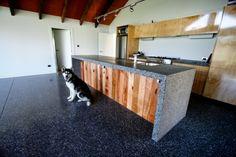 Polished concrete kitchen bench top