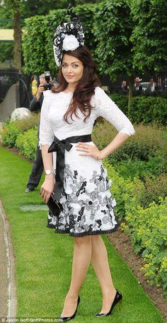 Aishwarya Rai Bachchan in Philip Treacy ladylike black & white lace dress at The Royal Ascot 2013