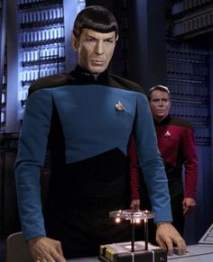 Spock and Kirk in TNG uniforms