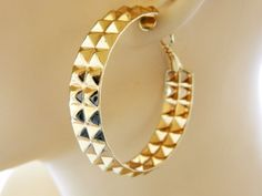 "80s Boho Chic Gypsy Hoop Statement Earrings Stamped Metal Gold Tone Retro 2"" #Hoop"