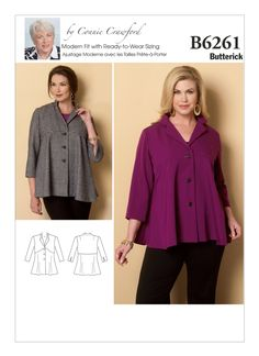 B6261 | Butterick Patterns for Plus Size Women.