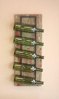 Wall Wine Rack  5 Bottle Iron & Reclaimed Barn by AdliteCreations