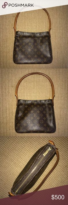 Louis Vuitton Looping MM monogram bag Monogram coated canvas with natural leather trim. It is the medium member of the Looping family which all have the padded natural leather swiveling arc handle. Bag is in used condition. There are no rips on the outside leather. See pictures for some dirt near the zipper and stains inside of the bag. The handle is worn and has turned a darker brown. Interior includes one zip pocket and one cell phone pocket. Made in March 2002 in France. Bag is authentic…