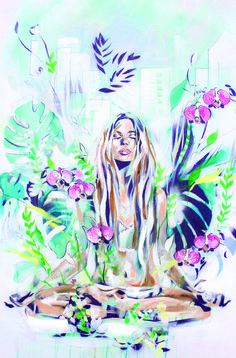 In the Fields | Meditation zen painting in a tropical setting | By Hannah Adamaszek online shop & gallery